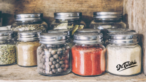 jars of brightly colored spices