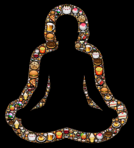 Silhouette of a person in the lotus yoga position surrounded by junk foods - burgers, fries, pizza, etc