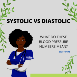 "Image of female doctor with her arms folded. Over her head are the words ""Systolic vs Diastolic"". Next to her are the words, ""What do these blood pressure numbers mean?"" @DrTursha"