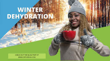 "Image of a woman dressed in a sweater and hat in front of snow and trees. The words ""Winter Dehydration"" next to her."